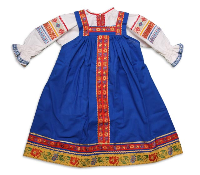 RUSSIAN TRADITIONAL GIRL's SARAFAN BLUE
