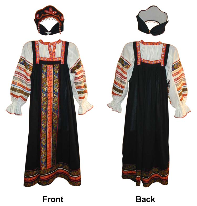 **RUSSIAN TRADITIONAL BLACK WOMEN SARAFAN**