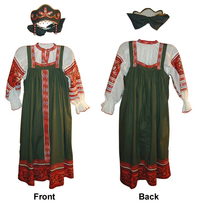 **RUSSIAN TRADITIONAL GREEN WOMEN SARAFAN** -