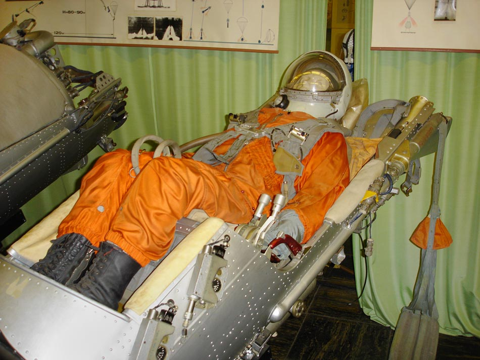 Vostok cosmonaut on ejection seat (photo from the museum of NPP Zvezda). Not included with the item.