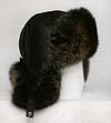 Black tinted polar fox Russian transformer fur hat with black leather